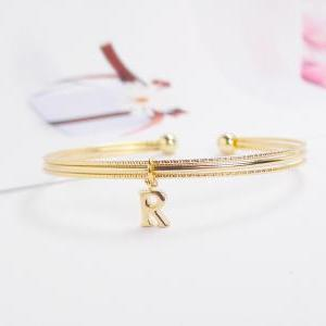Initial Bangle, R Bracelet, Adjusta..
