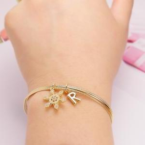 Crystal Snowflake Initial Bangle, A..