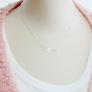 Sterling Silver Sideways Cross Neck..