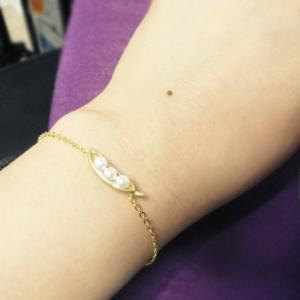 3 peas in a pod bracelet, gold and ..