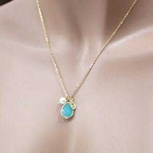 Mint Stone Necklace,Initial Necklac..