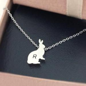 initial necklace, Initial Tiny rabb..