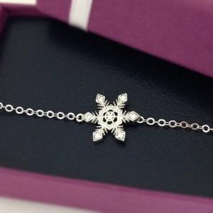 White Crystal Snowflake Bracelet in..