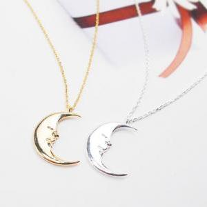 Crescent Moon Necklace, Smile Moon ..