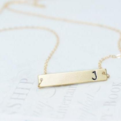 Initial Bar Necklace, Personalized ..