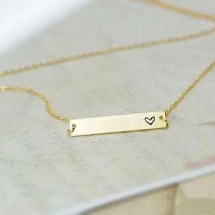Heart Bar Necklace, Hand Stamped He..