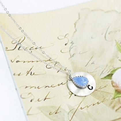 Initial Coin And Stone Necklace, Br..