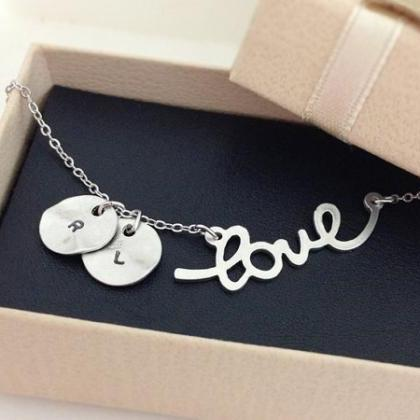 Initial and Love necklace, Initial ..