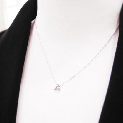 Tiny Crystal Initial Necklace, Shin..