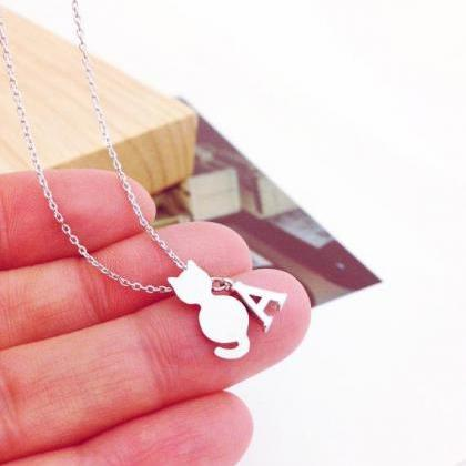 Tiny Cat And Initial Necklace, Pers..