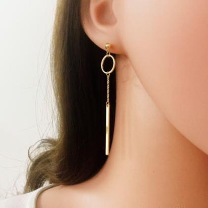 Bar And Ring Earrings, Long Drop Ea..