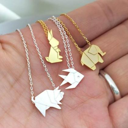 Origami Animal Necklace, Wild Pig N..