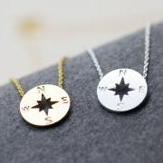 Compass Necklace, Nautical Jewelry