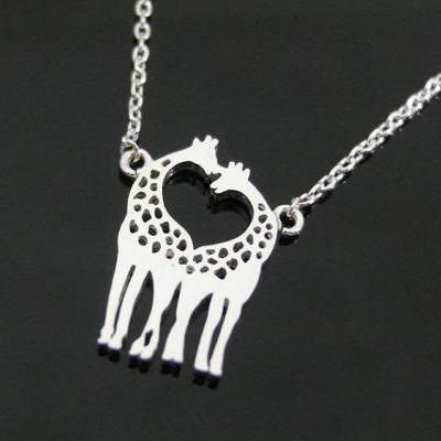 Two Giraffes in Love necklace, Giraffe Couple Necklace in Silver, Loving Giraffes, Animal Jewelry
