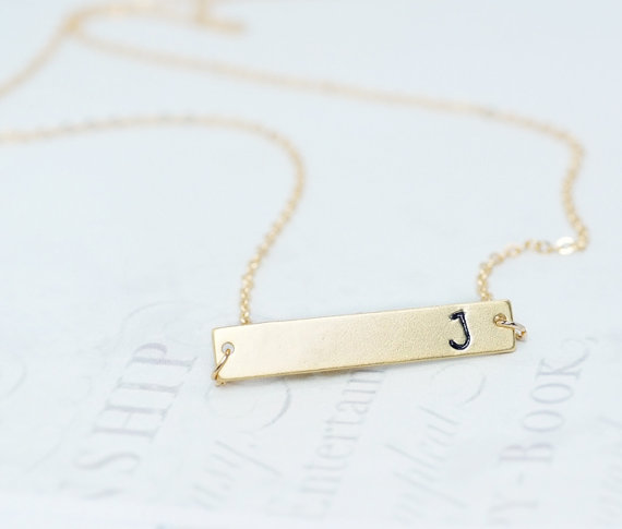 Initial Bar Necklace, Personalized Necklace, Hand Stamped Initial Necklace