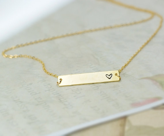 Heart Bar Necklace, Hand Stamped Heart Necklace, Love Necklace