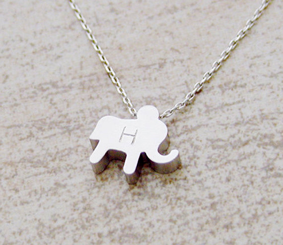 initial necklace ,Initial tiny elephant necklace in white gold, personalized necklace