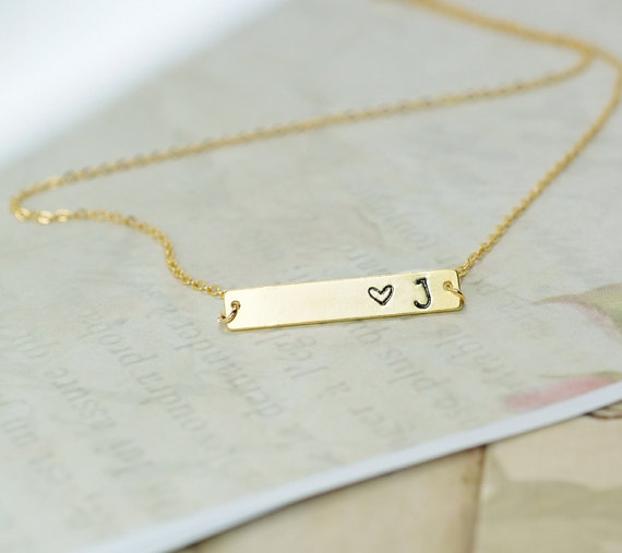 Heart And Initial Necklace, Love Initial Necklace, Personalized Necklace, Hand Stamped Initial Necklace