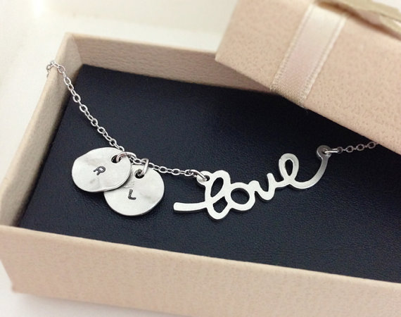 Initial and Love necklace, Initial Double Round And Love Pendant Necklace in white gold, personalized necklace, Hand Stamped Initial