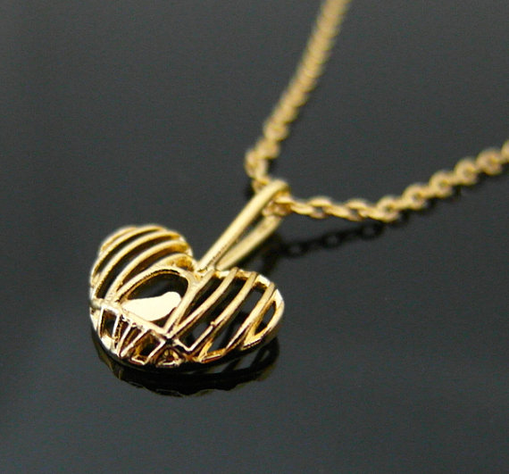 Lovely Bird in Heart Cage, Bird Pendant in Gold, Wedding Jewelry, mother's day gift