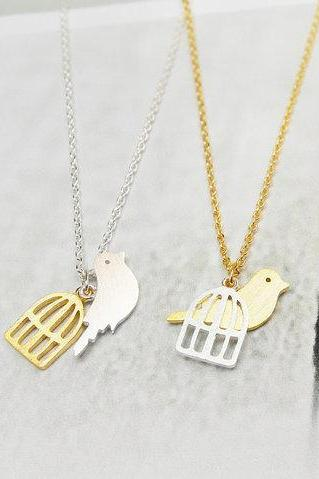 Bird Cage Necklace, Free Bird Necklace, Graduation Gifts Necklace, Singing Bird