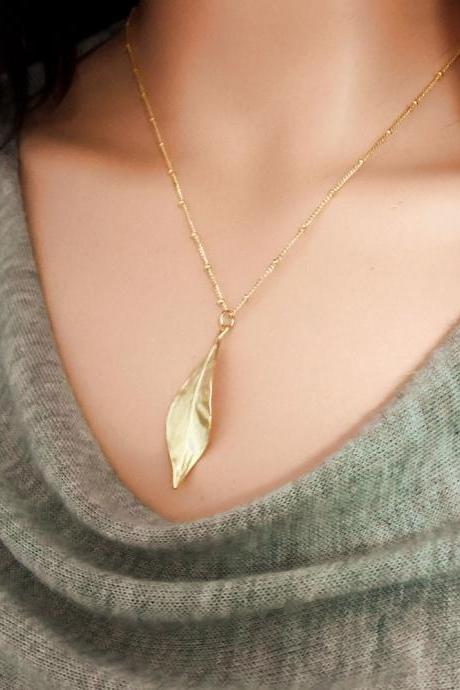 Long Layered Leaf Necklace Golden Leaf Necklace Dew Drop Chain Necklace
