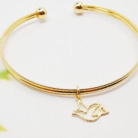 Bird Bangle, Cut Out Bird Bracelet, Adjustable Bangle, Holiday Gift, Christmas Gift