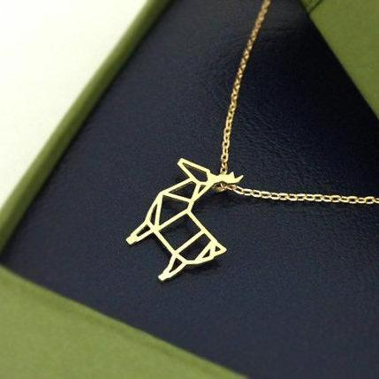 Rudolph Reindeer Necklace in gold, Animal necklace, Merry Christmas, Winter Jewelry, Reindeer Necklace