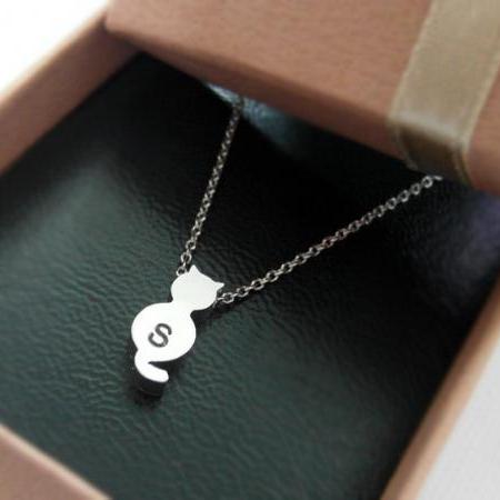 initial necklace, Initial Tiny Cat Necklace in white gold, personalized necklace, Hand Stamped Initial