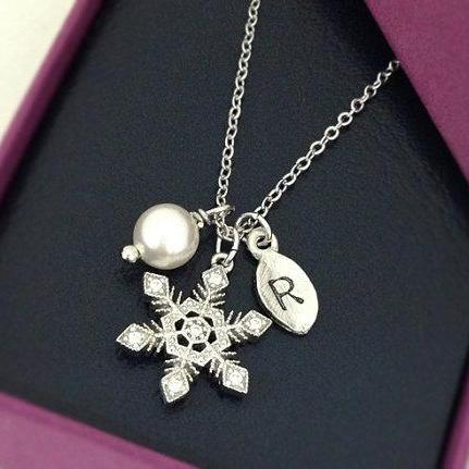 Personalized White Crystal Snowflake Necklace in Silver with Swarovski pearl, , Holiday Gift, Christmas Gift