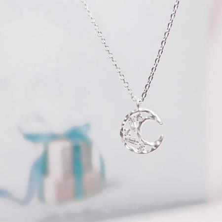 Crescent Moon Necklace, Smile Moon Necklace, Make a Wish, New Beginnings Necklace, Illuminated Necklace, Dream Jewelry
