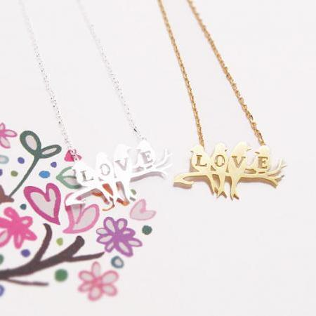 Bird Necklace, Love Bird Jewlery, Love Necklace, Bird on a Branch Necklace, Singing Bird, For Mom, Girlfriend Gifts