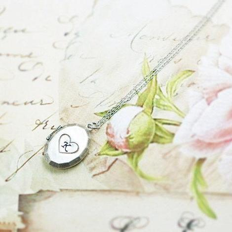 Cursive Initial Heart Locket Necklace, Block Letter Initial Heart Necklace, Personalized Locket, Hand Stamped Initial In Heart Locket