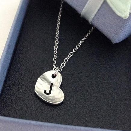 Initial Heart Necklace, Tiny initial J necklace, personalized necklace