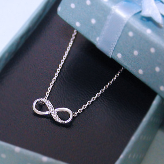 Sterling Silver Infinity necklace, bridesmaid gifts, birthday gift
