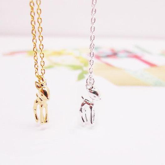 Bambi Necklace, Little Deer Necklace, Raindeer Necklace, Gift for Less, Girlfriend Gifts