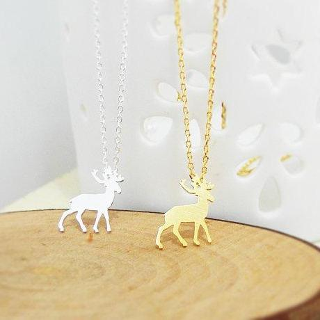 Tiny Rudolph necklace, Christmas Gift, Antler Necklace, Reindeer Necklace, Horn Necklace, Winter Jewelry, Holiday Gift
