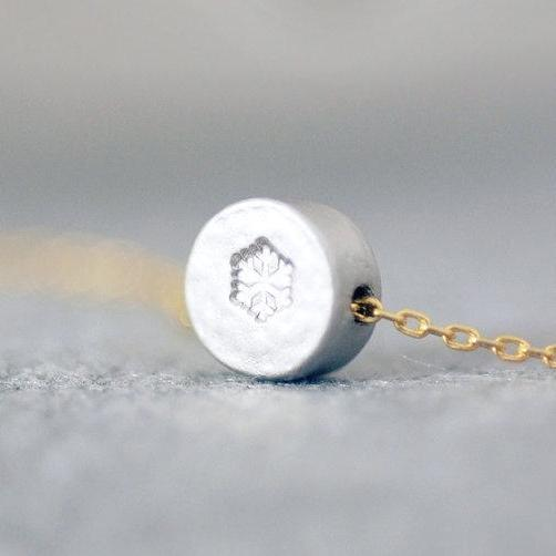 Snowflake Handstamped Necklace, Tiny Snowflake Necklace, Holiday Gift, Christmas Gift