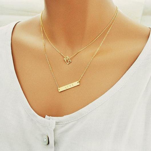 Gold Bar Necklace, Envelope Necklace, Layered 2 Set Necklaces