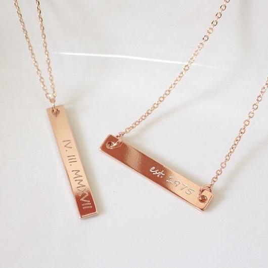 Rose Gold Bar Necklace, Personalized Bar Necklace, Roman Numeral Necklace, Engraved Necklace, Bridesmaid Gift, Christmas Gift