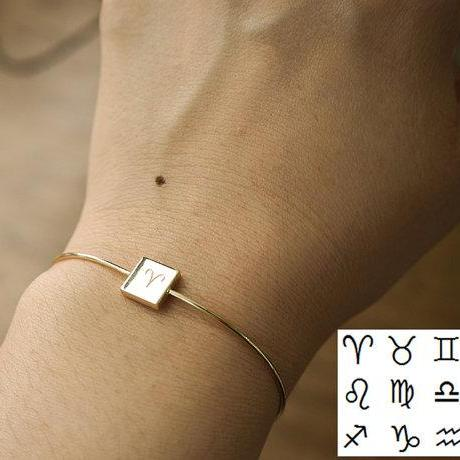 Zodiac Sign Bangle, Zodiac Bracelet