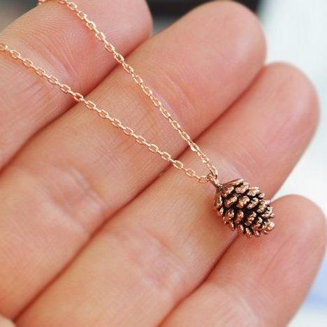 Rose Gold Pine Cone Necklace / Pink Gold Necklace / Pink Pine Cone Necklace / Forest necklace / Woodland Necklace/ Long Layered Necklace