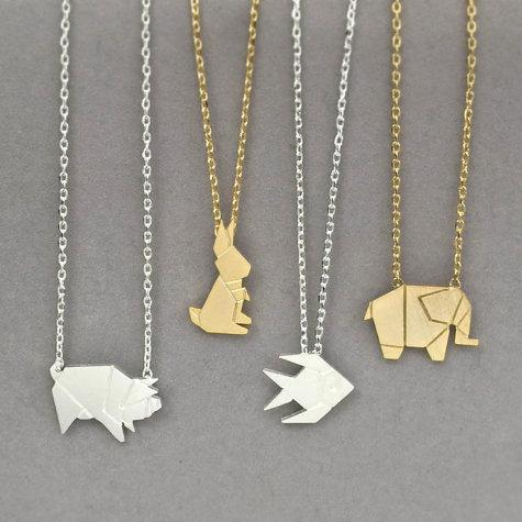 Origami Animal Necklace, Wild Pig Necklace, Elephant Necklace, Rabbit Necklace, Fish Necklace