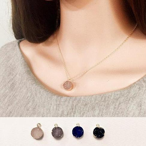 Druzy Necklace Bridesmaid Gifts Women Necklace Long Drop Necklace